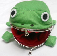 Wholesale Cosplay New Anime Naruto Ninja Cute Green Soft Plush Frog Coins Pocket Cosplay Frog Wallet Purse WJ1