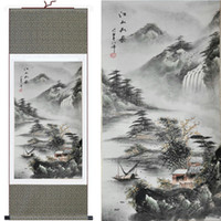 Wholesale Landscape Silk Decorative Painting Chinese Scrolls Paintings Living room Art Hanging paintings Free