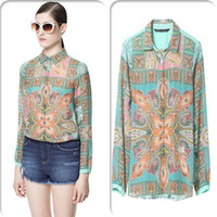 Wholesale European Style Colorful Printing Chiffon Blouse Singel Breasted Long Sleeve Lapel Collar Ladies Favors Blouses Summer Top C037