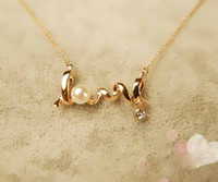 Wholesale Fashion personality OL temperament short Cute Yellow Gold GP LOVE Sign Pendant Necklace