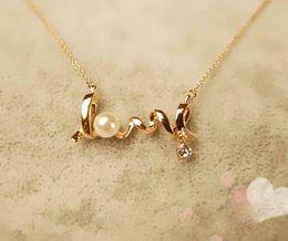 Personalidad de la moda al por mayor de OL temperamento corto lindo oro amarillo GP Amor Regístrate collar colgante # 8013