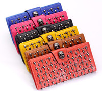 Wholesale Skull Wallet Genuine Leather Purse Punk Cowhide Clutch Bag Women Card Holder