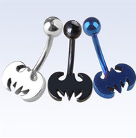 Wholesale Stainless Steel Bat Batman Belly Button Ring Navel Bar Ring Body Piercing Punk