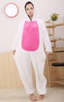 Wholesale New Adult Kigurumi Animal Fleece Women s Lovely Cute Love White Rabbit Pyjamas Pajamas Cosplay sleepwear Underwear Onesie