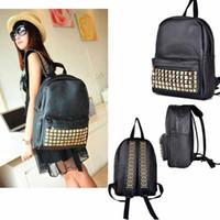 Wholesale girl hot sale cool punk gold gold spiky backpack backpack stud bag school bag hobo men women unisex bag hot