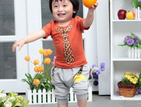Boy 2-6year Summer children clothing leopard print Fake tie jacinth Short sleeve T Shirt+gray pants 2pcs boys set kids suit 4size 4set lot