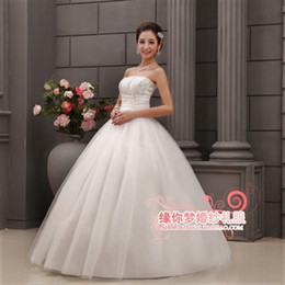 Wholesale 2014 New Year Hot sale Simple Modern wedding gown Strapless Ball Gown elegant wedding dress tail bandage hy the weddings white Bridal gowns