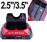 Wholesale USB quot quot Dual Twin SATA HDD Docking Station e SATA Hub CF TF MS SD XD Card Reader External Storage