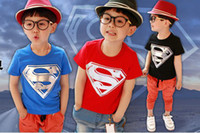 Wholesale Boys popular superman t shirt children cotton short sleeve tops kids summer fashion clothes color lcagmy