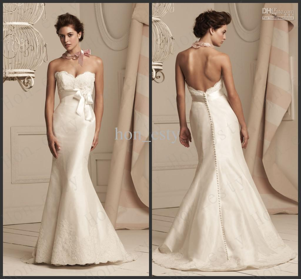Ivory Backless Lace Wedding Dresses images