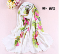 Wholesale 160 cm Spring and Autumn Georgette Scarf Fashion Flowers Printing Georgette Sunscreen Shawl Women Girl Scarves