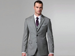 Wholesale Custom made Light grey Notch Lapel Groom Tuxedos Groomsmen Men Wedding Suits Best man Suits Prom Clothing Jacket Pants Vest Tie BM