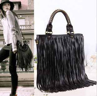 Wholesale 2014 New Punk Tassel Fringe Womens Fashion pu Leather handbag Shoulder Bag black Women Tote bag