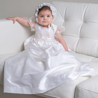 Wholesale 2013 New Lovely High Quality short sleeve Baptism Gown white ivory lace Christening Gowns Dress with Bonnet for Baby Girls and Boys sc001