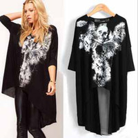 Cheap Wolesale spring new Fashion women clothing half sleeve skull heads print forked tail punk lady long tshirts #8100