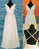 Real Photos V-Neck Backless Cheap A-Line Beach Grecian Wedding Dresses 2013 Chiffon V-Neck Cross Backless Beaded Floor-Length