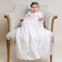 baby baptism dress - 2013 New Lovely High Quality short sleeve Baptism Gown white ivory lace Christening Gowns Dress with Bonnet for Baby Girls and Boys K100