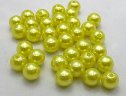 Free Shipping Wholesale 6 8 10 12 14mm Yellow Round ABS Plastic Pearls Loose Beads Jewelry Accessaries Fit European Bracelets