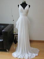 Real Photos V-Neck Chiffon Customized Sheath Beach Grecian Wedding Dress 2013 Online Chiffon V-Neck Empire Ruched Floor-Length