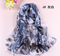Wholesale 160 Cm Multicolor Fashion Georgette Women Scarf Atmospheric peony Printing Chiffon Shawl Girl Scarves Birthday Valentine s Day Gift