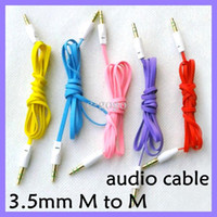 Wholesale 3 mm Jack Male to Male M M Flat Stereo Audio AUX Cable noodle flat cable for iPhone S iPod