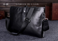Wholesale 2013 Fashion Casual Men s Briefcases Envelope Bag Genuine Leather Bag Men Shoulder Messenger Ipad Bag For Men Free Shippig