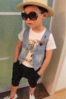 Wholesale New Arrival Children s Jackets Jean Hip hop And Rock Style Single breasted Blue Fashion Summer Children s Clothes LQY6