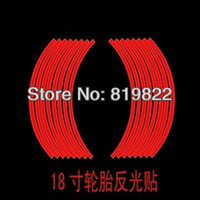 PVC 17*18  Motorcycle stickers rim stripe tire sticker 17 18 inch red for auto car 16 PCS SET Free Shipping
