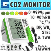 Wholesale M0198138 Digital Wall mount and Desktop Carbon Dioxide CO2 ppm Monitor Temperature RH Dew Point Wet Bulb TWA STEL Taiwan Made