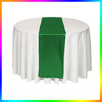 Wholesale Piece Emerald Dark Green Satin Table Runner Wedding Cloth Runners Holiday Favor Party Banquet Decoration