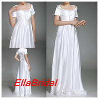 Wholesale Column White Soft Satin Short Sleeve Evening Dresses Prom Wedding Party Dress inspired by Sarah Jessica Parker in Sex and the City