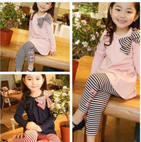 Wholesale Spring Autumn Winter Girl s Clothing Striped Bowknot Outfit Plain Long Sleeve Dress Stripes Leggings Outfits B0273