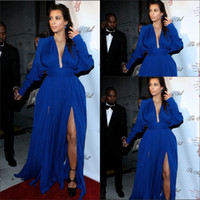 Wholesale 13654 evening dresses for pregnant women royal blue full long sleeve hip high slits Kim Kardashian plus size Evening Dress