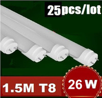 T8 26w SMD 2835 Free FedEx 26W 1500mm 2400lm T8 5 Feet 5FT 85-265AC White 3200-6500K LED Tube Light Bulb Lamp Fluorescent Tube 25pcs lot