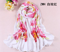 Wholesale 160 cm Super Smooth Simulation Scarf Long Section Fashion Flowers printing Chiffon Shawl Women Girl Scarves Birthday Valentine s Day Gift