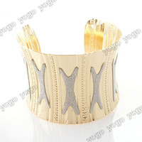 12PC New Bohemian Gold Metal Dull Polished Center Wide Cuff ...
