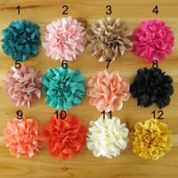 flower fabric Solid 3inch DIY fabric flowers for headband Baby Girls Hair Accessories wholesale Artificial flowers 60pcs lot