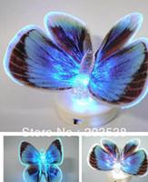 al por mayor noche de mariposa-Colorido de fibra óptica de la mariposa de la mariposa Nightlight LED Luz de la noche Por la noche del sitio de la boda de luz para habitaciones de niños 10pcs / lot