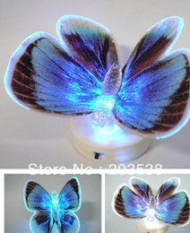 Noche de mariposa en Línea-Colorido de fibra óptica de la mariposa de la mariposa Nightlight LED Luz de la noche Por la noche del sitio de la boda de luz para habitaciones de niños 10pcs / lot