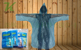 Wholesale Free Express shipping piece bag Disposable PE Raincoat Blue Green Yellow Pink Purper Mix Color PE Rain Poncho