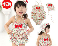 girl's swimsuits children one- piece floral kid's swimwear+ ha...