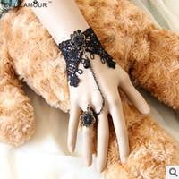 Lace Women's Bohemian Woman's Rhinestone Stone Ring Stone Retro Vintage Black Hollow Lace Bracelet+Rings Gothic Punk Jewelry Gift 0112