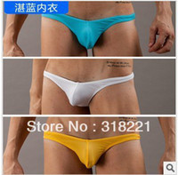 Cotton Blend Briefs Sexy free shipping Men's 3pcs lot Underwear G-Strings & Thongs panties Low-waist Breathable 4 colors