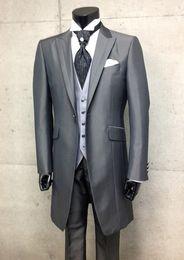 New Style Long Grey One Button Groom Tuxedos Best Man Peak Lapel Groomsmen Men Wedding Suits Bridegroom (Jacket+Pants+Tie+Vest) H813