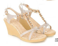 Wholesale 2013 wedge summer sandals synthetic diamond medium heel lady shoes