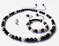 Wholesale New10mm crystal clay disco ball faceted black crystal beads shamballa necklace bracelet earring jewelry set bracelets cheap gift