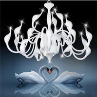 85-265V bedroom chandelier lighting - Popular Artistic Swan Chandelier Modern Wrought Iron Pendant Lights with head PL195