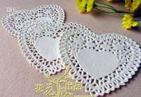 Wholesale 600pcs FreeShip Create Craft cm Heart White Paper Lace Doilies Placemat Wedding Decoration H159