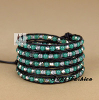 Wholesale Semi precious Stone with Crystal Beaded Leather Bracelet Wrapped Leather Bracelet