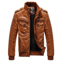 Wholesale Men s PU Locomotive Leather Jacket Coat Thickening Fur Outerwear Slim Winter Jacket Brown M XXXL